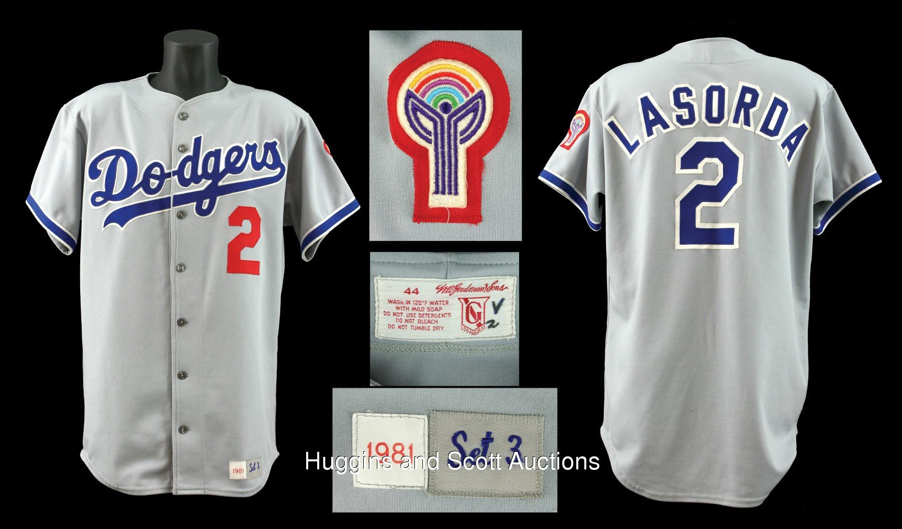 huge selection of ac9f4 e422a 1981 Tommy Lasorda Game Worn Dodgers Road Jersey