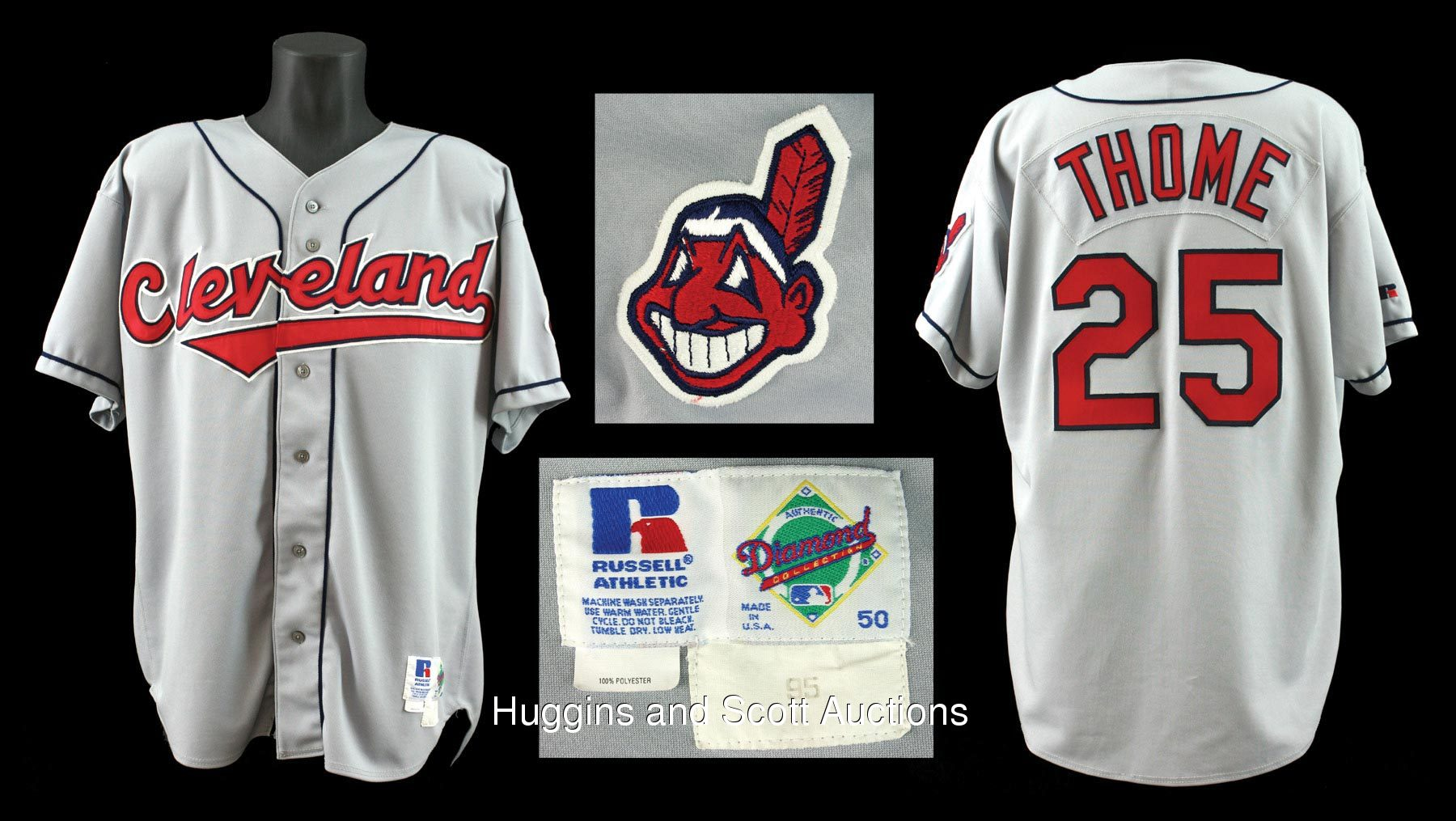 pretty nice 960d3 2b664 1995 Jim Thome Game-Worn Cleveland Indians Road Jersey